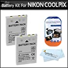 2 Pack Battery Kit For Nikon COOLPIX P100 P500 P510 P520 P530 Digital Camera Includes 2 Extended (1250 Mah) Replacement Nikon EN-EL5 Batteries + LCD Screen Protectors + ButterflyPhoto MicroFiber Cleaning Cloth