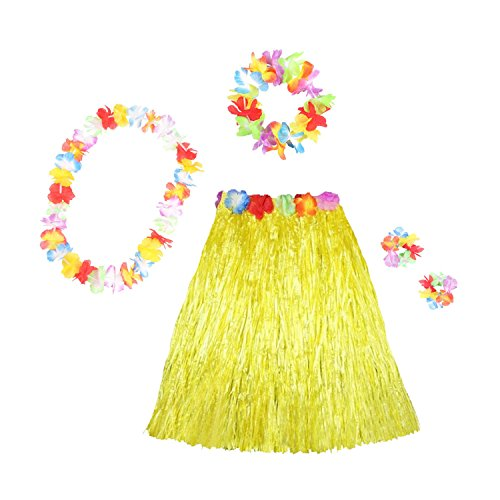 HOTER® Girl's Elastic Hawaiian Hula Dancer Grass Skirt With Flower Costume Set, Various Colors, Various Sizes