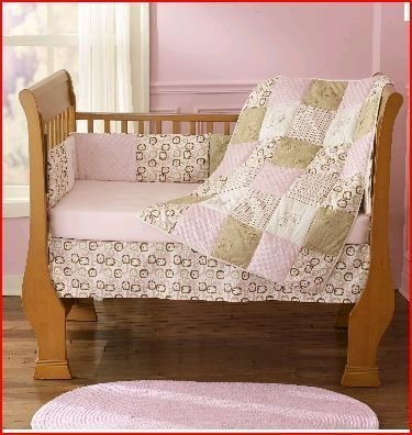 Step by Step Contempo 4 Piece Crib Set- Pink & Brown