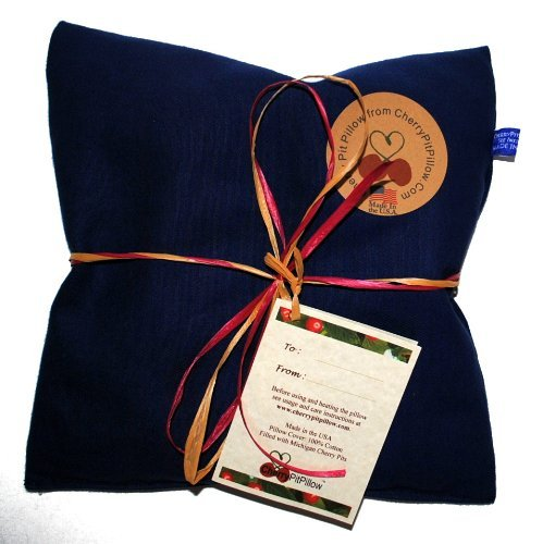Blue Therapeutic Cherry Pit Pillow – Soothe Neck and Stomach Pain – Durable Denim – Soft to the Touch – Made in America