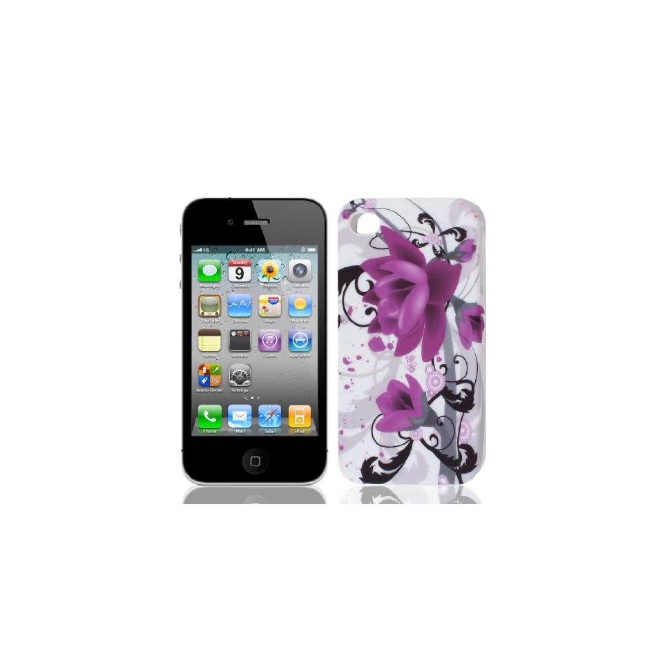 Purple Black Magnolia Flower TPU Soft Case Cover for Apple iPhone 4 4G 4S 4GS