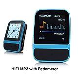 SailFar 8GB Mini Sports HIFI MP3 Player with Built-in Pedometer, Digital Watch and FM Radio - Blue