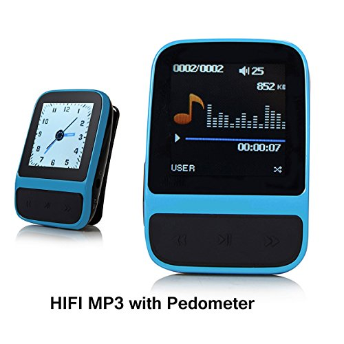 SailFar 8GB Mini Sports HIFI MP3 Player with Built-in Pedometer, Digital Watch and FM Radio - Blue (Portable Power Plant compare prices)