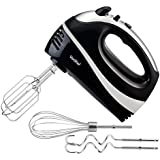 VonShef Professional 250 Watt Hand Mixer - Includes - 2x Beaters, 2x Dough Hooks and a Balloon Whisk + 5 Speed With Turbo Button