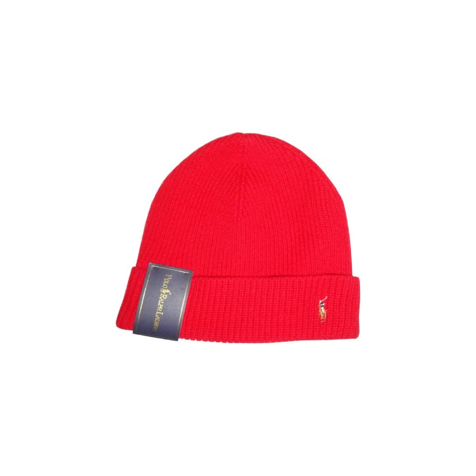 16db801d Polo Ralph Lauren Mens Merino Wool Hat Skull Cap Red with Classic Pony