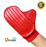 Pet Grooming Glove Brush - Pet Hair Remove and Bathing Mitt for Dogs, Cats and Horses - Clean and Massage At Once