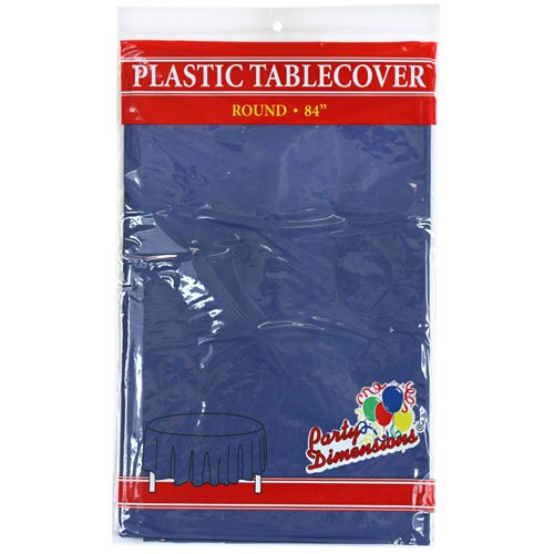 Party Dimensions Single Count Round Plastic Tablecover, 84-Inch, Blue