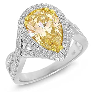 3.22ct 18k Two-tone Gold Pear Shape Natural Fancy Yellow Diamond Ring