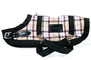 Bluemax 16.5-Inch Dog Coat, Medium, Beige Plaid