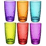 Bormioli Rocco Palatina Coloured Tumbler Glasses - 490ml (17oz) - Multi Coloured - Set of 6