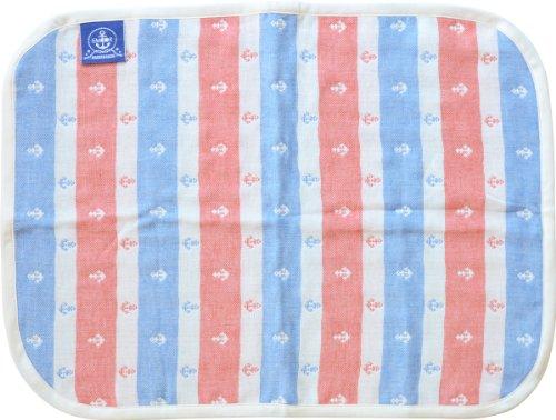 エムール 4重織りガーゼ ベビーミニケット 65×50cm おむつマットにも イカリボーダー柄 日本製 ロイヤルトリコロール [Baby Product]