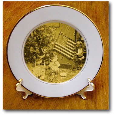 Girl and American Flag Vintage Christmas Antiqued tone – 8 Inch Porcelain Plate