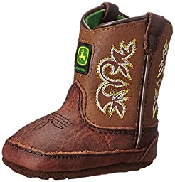 John Deere JD0342 Pull On Crib Boot (Infant), Mesquite Leather, 1 M US Infant