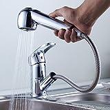 Auralum キッチン蛇口 洗面手洗いボウル用 引き出せる洗面水栓 混合水栓 シングルレバー 水栓金具