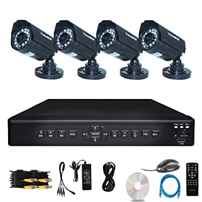 iSmart 4 Channel H.264 CCTV Security Surveillance HDMI Motion Recording DVR & 4 CMOS Outdoor Weatherproof IR Night Vision Bullet 700TVL Cameras with No Hard Drive (D6104FH + No HDD + C1030DP7x4)