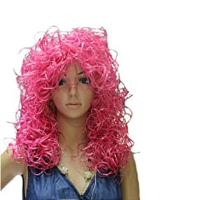 W-supplier Beautiful Women' Peach Long Curly Sport Fan Wigs (Model:W-supplier-01385)