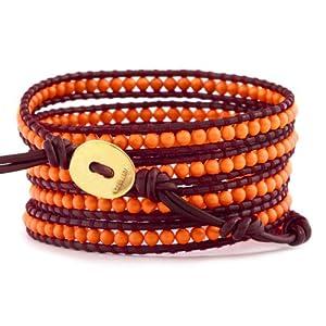 Chan Luu Neon Orange Wrap Bracelet on Garnet Leather