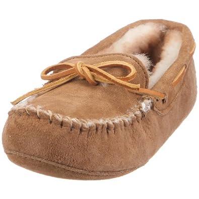 Minnetonka Women's Sheepskin softsole moccasin Slipper,Golden Tan,5 M US