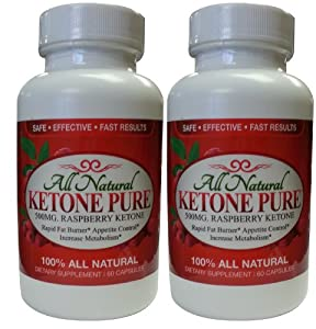 Ketone Pure|500mg All Natural Raspberry Ketone Extract|60 Capsule Bottles|Two Bottle Package|No Shipping Charge|Veggie Capsules