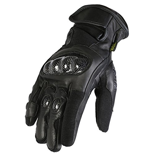 Texpeed - Guanti in pelle con protezioni per motociclismo - taglio corto - nero - Taglia XL - 10-10,5cm