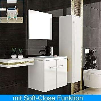 Gäste WC Badmöbel Set zweiteilig Schrank Weiß Türanschlag links Breite 45 cm