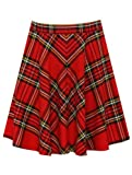 Teen girls red tartan checked pattern skater skirt