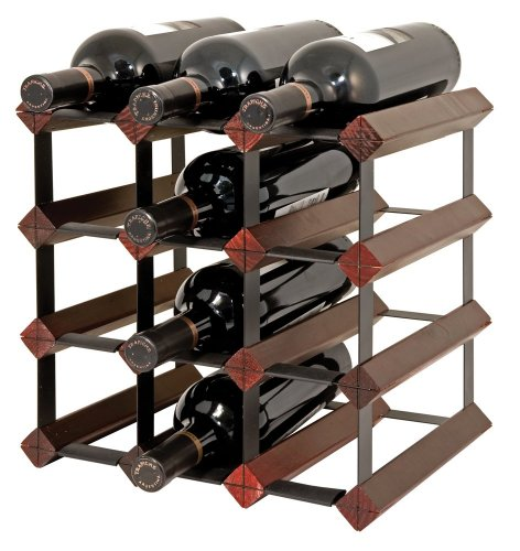 Final Touch 12 Bottle Wine Rack, Cherry Finish