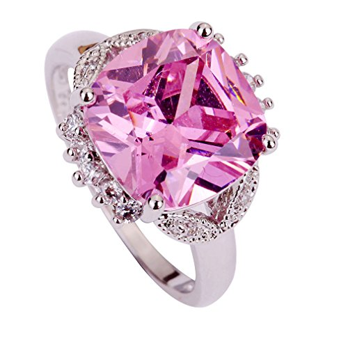 YAZILIND Women Silver Plated Band Wedding Pink Crystal Ring Gift For Lady Size8 (Yazilind Rings compare prices)