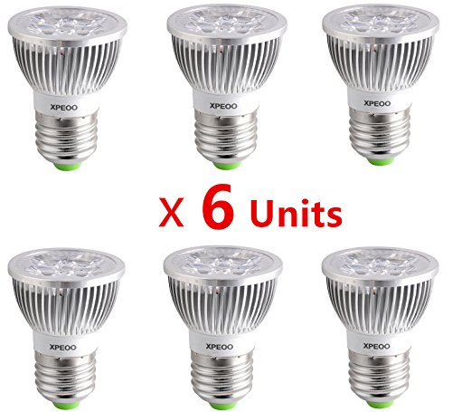 Xpeoo® 6Pcs High Power E27 E26 Base Led Bulbs 6W Equivalent To 50W Halogen Light Spotlight Down Lamp Energy Saving Recessed Tracking Lamps Non-Dimmable Effect Of Philips - E27 Non-Dimmable Warm White