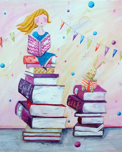 Cici Art Factory Book Worm Wall Decor, Pink