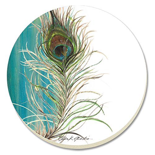 CounterArt Elegant Peacock Absorbent Coasters, Set of 4