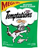 TEMPTATIONS Seafood Medley Flavor Treats for Cats, 6.3-Ounce Pouch Mega Bag (Pack of 10)