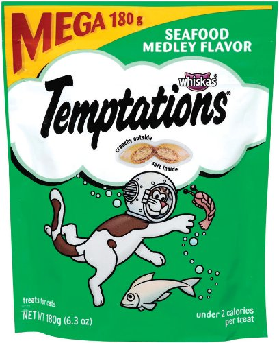 Whiskas Temptations Tartar Control Seafood Medley Flavour Treats for Cats, 6.3-Ounce Pouches (Pack of 10)
