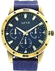 Spyn Denim Analogue Blue Dial Men's Watch - SL0015