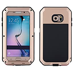I3C Waterproof Shockproof Aluminum Gorilla Glass Metal Case Cover For Samsung Galaxy S6 - Champagne Gold