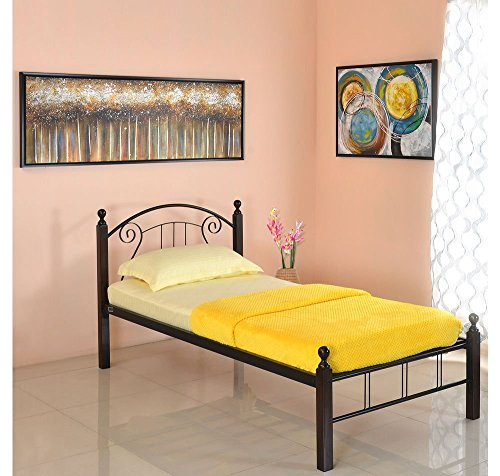@home by Nilkamal Spinix Single Size Bed without Storage (Matte Finish, Black and Brown)