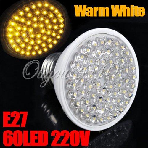 E27 60 Led Blanc Chaud 212Lm 3W 120°Luminaire Lampe Ampoule Bulb Spot 220V Neuf
