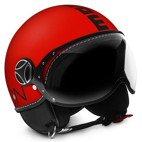 CASCO DEMI JET MOMO DESIGN: FIGHTER FLUO ARANCIO FROST/NERO TAGLIA S