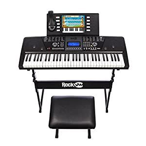 RockJam 561 Electronic 61 Key Digital Piano Keyboard SuperKit with Stand, Stool, Headphones, & Includes Piano Maestro Teaching App with 30 Songs by PDT Ltd - IMPORT (UK Vendor, Product FOB China)
