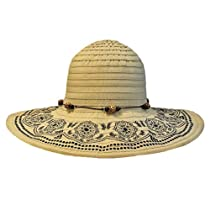 Luxury Divas Beige Crushable Beach Sun Floppy Hat With Elegant Trim