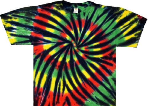 Tie Dyed Shop Stained Glass Rasta Spiral Tie Dye T Shirt-2X-Multicolored front-322050
