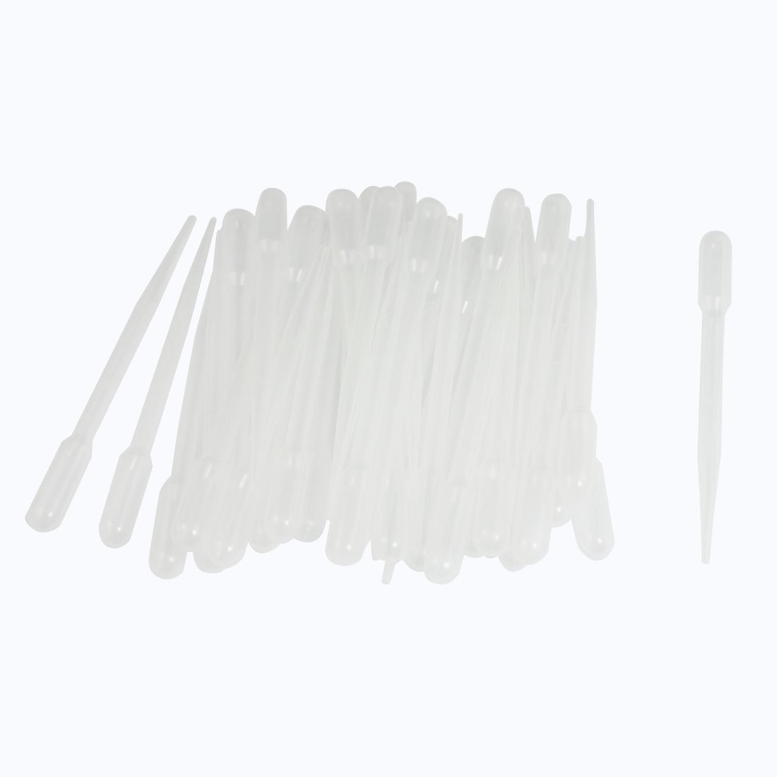 "50 Pcs Clear White Plastic 5.3"" Long Liquid Dropper Pasteur Pipette 2ml"