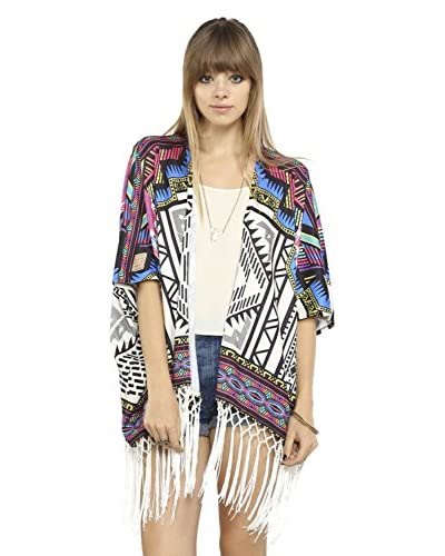 Flying Tomato Women's Printed Cover-Up with Fringe