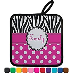 Zebra Print & Polka Dots Personalized Pot Holders