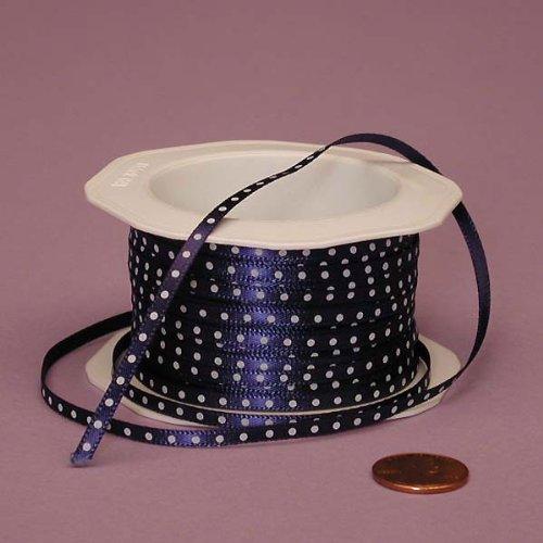 "Navy Blue Ribbon with White Polka Dots, 1/8"" X 25Yd"