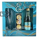 Personalised Babycham Gift Set with Wine Glass, Bottle of Babycham and Ferrero Rocher Chocolates with Free Engraving up to 30 Letters on the glass.