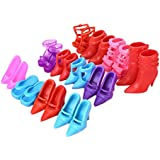 Soledi Fashion Mix 24pcs 12Pairs Different Shoes Boots For Decor Doll Toy Girls Play House Party Xmas Gift Color...