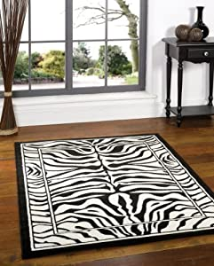 "Large Modern Zebra Design Black White Rug 160 x 220 cm (5'3"" x 7'3"") Carpet by Lord of Rugs"