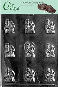 Cybrtrayd W003 Bride and Groom Mints Chocolate Candy Mold with Exclusive Cybrtrayd Copyrighted Chocolate Molding Instructions