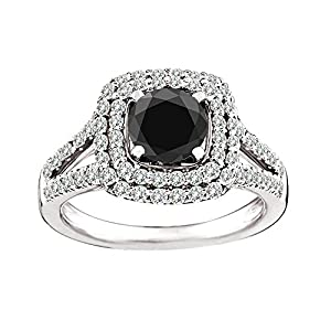 1.1 Carat Black AAA Round Diamond Solitaire Double Halo Ring Set 14K White Gold